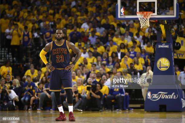 LeBron James of the Cleveland Cavaliers looks on against the Golden State Warriors in Game 1 of the 2017 NBA Finals at ORACLE Arena on June 1 2017 in...