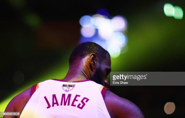 LeBron James of the Cleveland Cavaliers looks on against the Golden State Warriors in Game 2 of the 2018 NBA Finals at ORACLE Arena on June 3 2018 in...