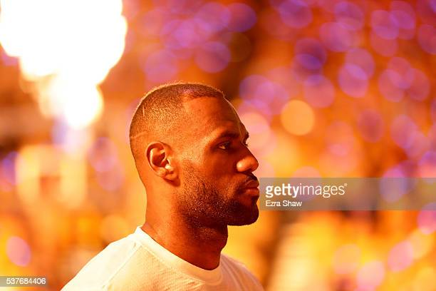 LeBron James of the Cleveland Cavaliers looks on before taking on the Golden State Warriors in Game 1 of the 2016 NBA Finals at ORACLE Arena on June...