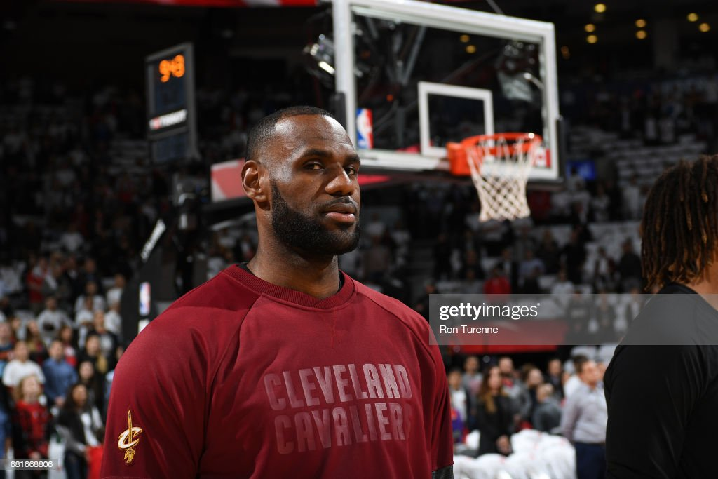 LeBron James #23 of the Cleveland Cavaliers looks on before the game against the Toronto Raptors during Game Three of the Eastern Conference Semifinals of the 2017 NBA Playoffs on April 18, 2017 at the Air Canada Centre in Toronto, Ontario, Canada.