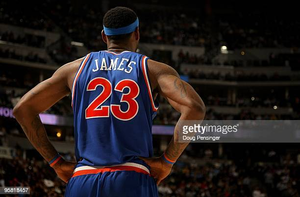 LeBron James of the Cleveland Cavaliers looks on during a break in the action against the Denver Nuggets during NBA action at Pepsi Center on January...
