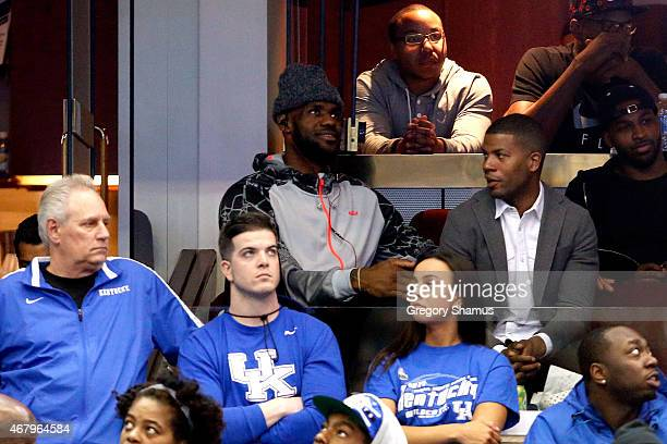 LeBron James of the Cleveland Cavaliers looks on during hte game between the Notre Dame Fighting Irish and the Kentucky Wildcats during the Midwest...
