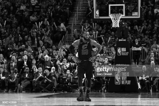LeBron James of the Cleveland Cavaliers looks on during the game against the Golden State Warriors on January 15 2018 at Quicken Loans Arena in...