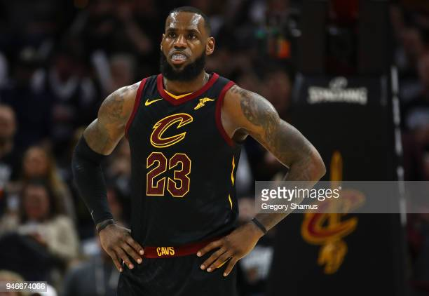 LeBron James of the Cleveland Cavaliers looks on during the second half while playing the Indiana Pacers in Game One of the Eastern Conference...