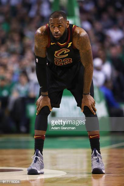 Lebron James of the Cleveland Cavaliers looks on in the second half during a game against the Boston Celtics at TD Garden on February 11 2018 in...