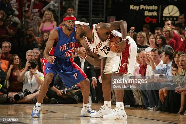 LeBron James of the Cleveland Cavaliers looks to make a move against Richard Hamilton of the Detroit Pistons in Game Six of the Eastern Conference...
