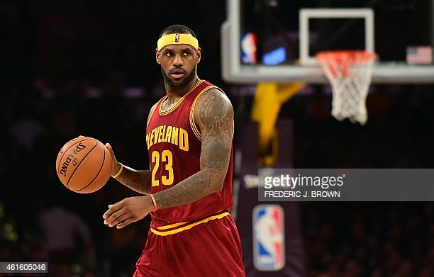 LeBron James of the Cleveland Cavaliers looks to pass against the Los Angeles Lakers during their NBA game at Staples Center in Los Angeles...