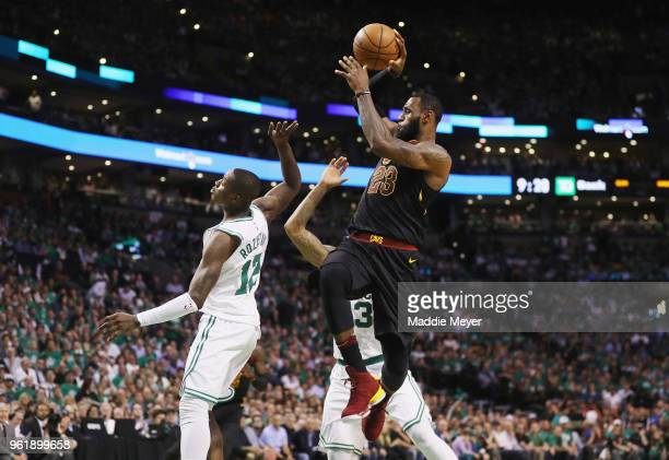 LeBron James of the Cleveland Cavaliers looks to pass the ball in the first half against the Boston Celtics during Game Five of the 2018 NBA Eastern...