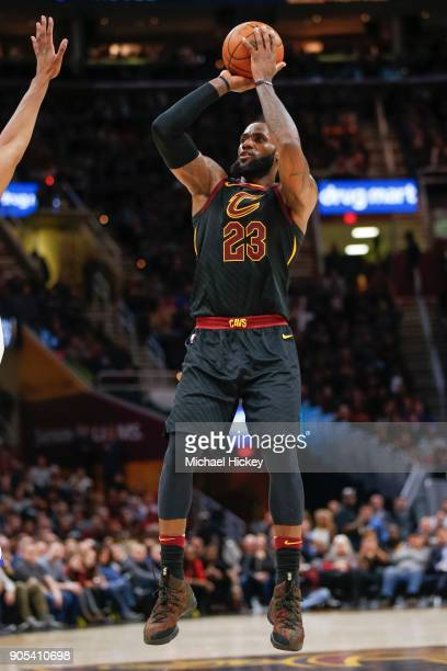 LeBron James of the Cleveland Cavaliers makes a jump shot during the game against the Golden State Warriors at Quicken Loans Arena on January 15 2018...