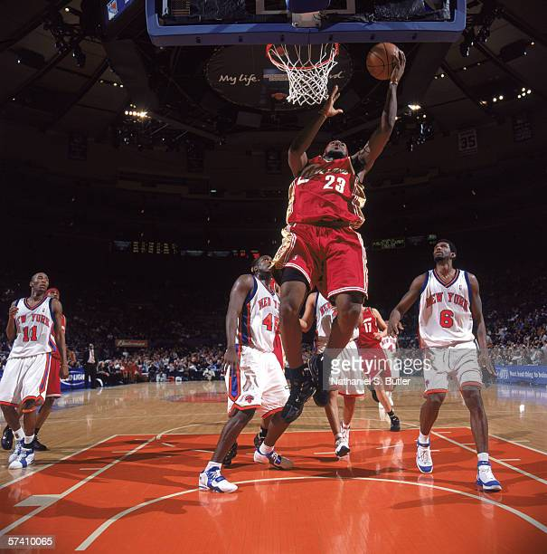 LeBron James of the Cleveland Cavaliers makes a layup during the game against the New York Knicks at Madison Square Garden on April 5, 2006 in New...