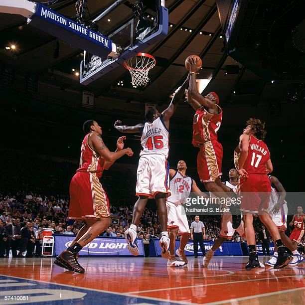 LeBron James of the Cleveland Cavaliers makes a shot against Jackie Butler of the New York Knicks at Madison Square Garden on April 5, 2006 in New...