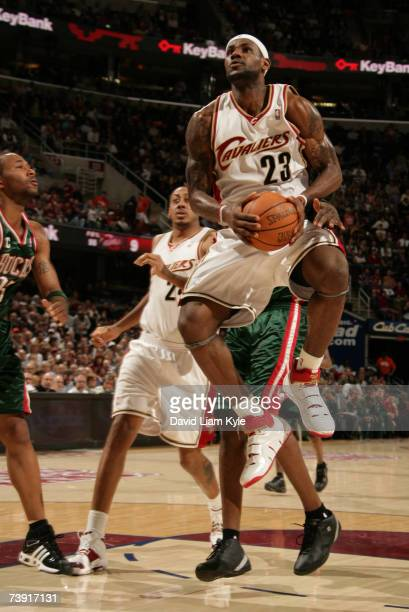LeBron James of the Cleveland Cavaliers makes an attempt on a shot against the Milwaukee Bucks April 18, 2007 at The Quicken Loans Arena in...