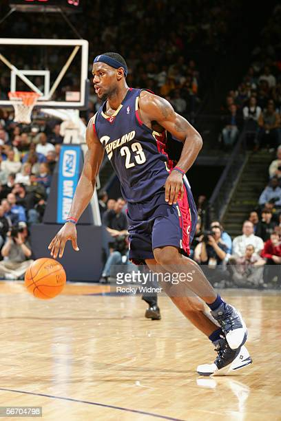 LeBron James of the Cleveland Cavaliers moves the ball against the Golden State Warriors during the game at the Arena in Oakland on January 20 2006...