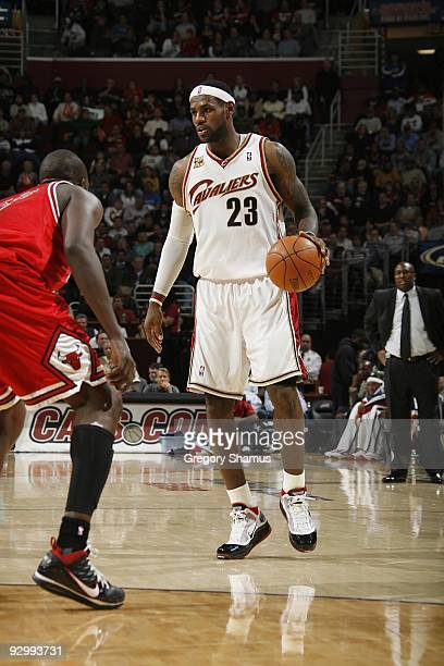 LeBron James of the Cleveland Cavaliers moves the ball against the Chicago Bulls during the game on November 5, 2009 at the Quicken Loans Arena in...