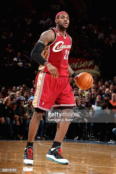 LeBron James of the Cleveland Cavaliers moves the ball during the game against the New York Knicks on November 6, 2009 at Madison Square Garden in...