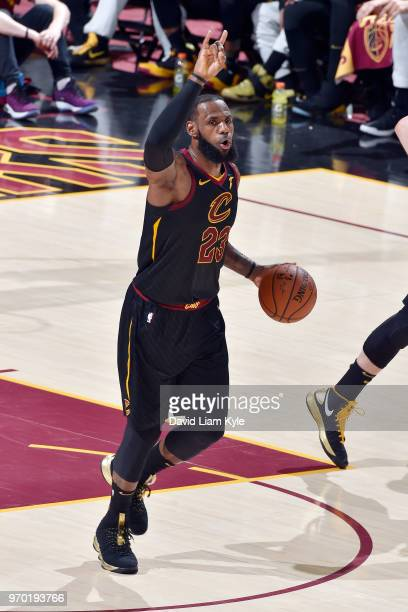 OH LeBron James of the Cleveland Cavaliers moves the ball up the court during the game against the Golden State Warriors in Game Four of the 2018 NBA...