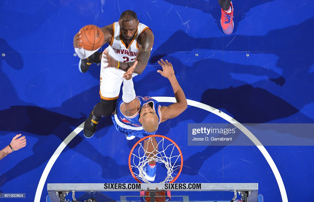 LeBron James #23 of the Cleveland Cavaliers passes Hakeem Olajuwon for tenth all-time on the scoring list against the Philadelphia 76ers during game at the Wells Fargo Center on November 5, 2016 in Philadelphia, Pennsylvania