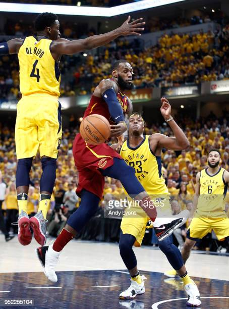 LeBron James of the Cleveland Cavaliers passes the ball against the Indiana Pacers in Game Six of the Eastern Conference Quarterfinals during the...