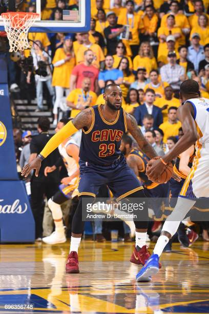 LeBron James of the Cleveland Cavaliers plays defense against the Golden State Warriors in Game One of the 2017 NBA Finals on June 1 2017 at Oracle...