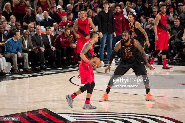 LeBron James of the Cleveland Cavaliers plays defense against the Portland Trail Blazers on March 15 2018 at the Moda Center in Portland Oregon NOTE...