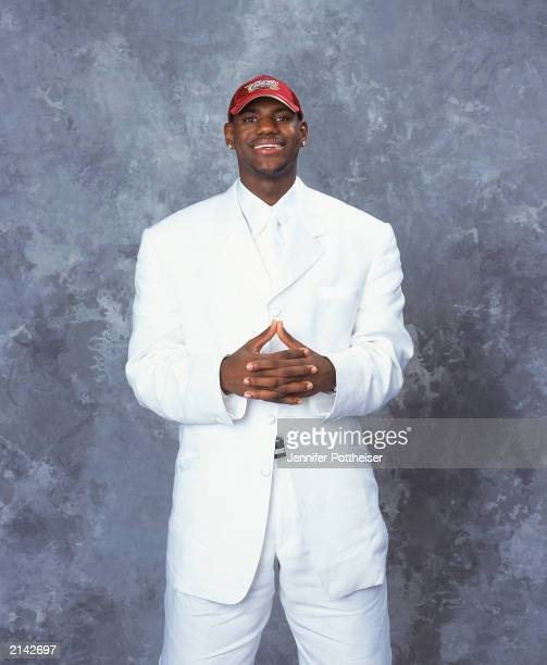 LeBron James of the Cleveland Cavaliers poses during the 2003/2004 NBA Draft Portrait at Paramount Theatre Madison Square Garden on June 26, 2003 in...