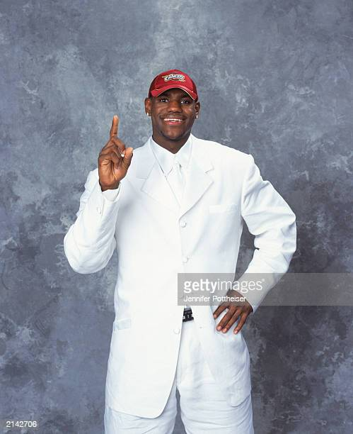 LeBron James of the Cleveland Cavaliers poses during the 2003/2004 NBA Draft Portrait at Paramount Theatre Madison Square Garden on June 26 2003 in...