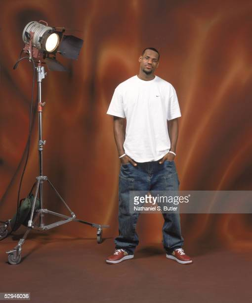 LeBron James of the Cleveland Cavaliers poses for a NBA AllStar portrait on February 18 2005 in Denver Colorado NOTE TO USER User expressly...
