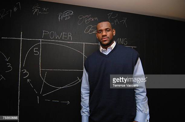 Lebron James of the Cleveland Cavaliers poses for a picture during All Star Media Availability on February 16, 2007 at The Palms Resort and Casino in...