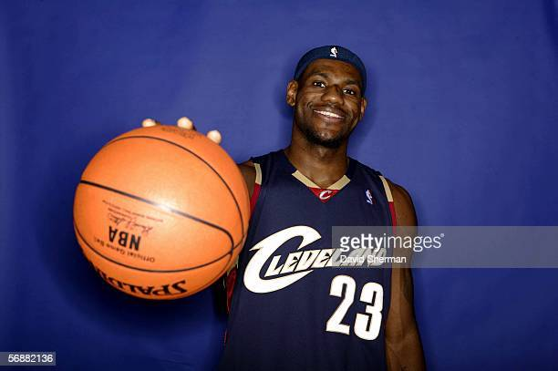 LeBron James of the Cleveland Cavaliers poses for a PlayStation Skills Challenge Portrait at the 2006 NBA AllStar Weekend February 18 2006 at the...