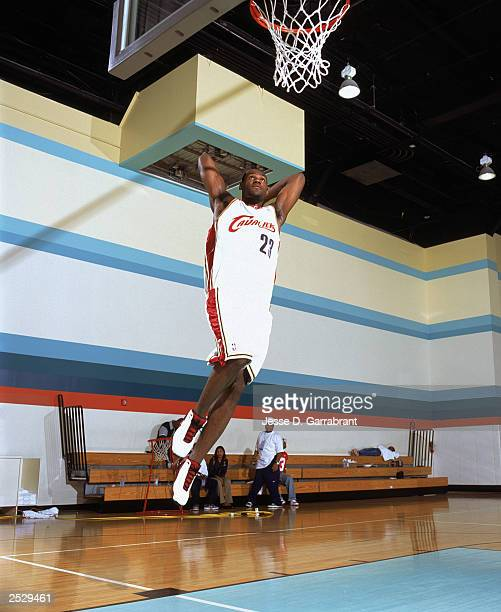 LeBron James of the Cleveland Cavaliers poses for a portrait during the 2003 NBA Rookie Shoot on September 10 2003 in New York City New York NOTE TO...