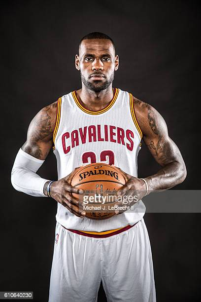 LeBron James of the Cleveland Cavaliers poses for a portrait during 20162017 Cleveland Cavaliers Media Day at the Cleveland Clinic Courts on...