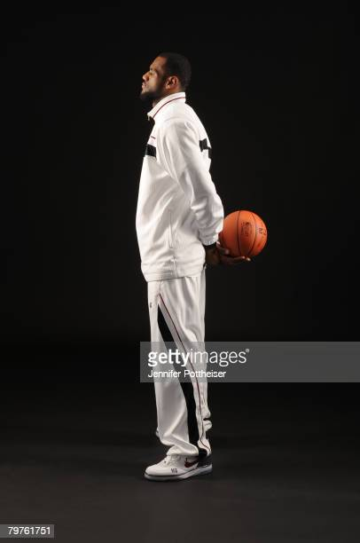 LeBron James of the Cleveland Cavaliers poses for a portrait during All Star Media Availability at the Sheraton New Orleans February 14 2008 in New...
