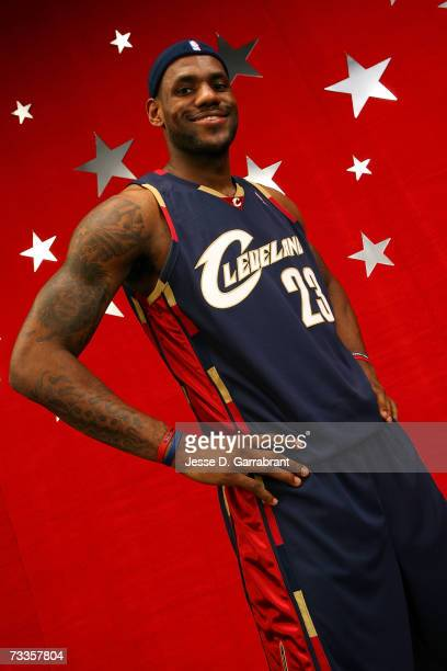 LeBron James of the Cleveland Cavaliers poses for a portrait on AllStar Saturday Night during the NBA AllStar Weekend on February 17 2007 at the...