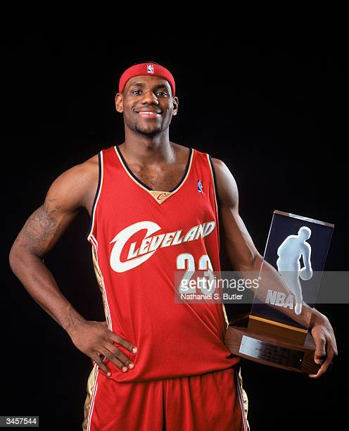 LeBron James of the Cleveland Cavaliers poses for a Rookie Of The Year Portrait on April 20, 2004 in New York City, New York. NOTE TO USER: User...