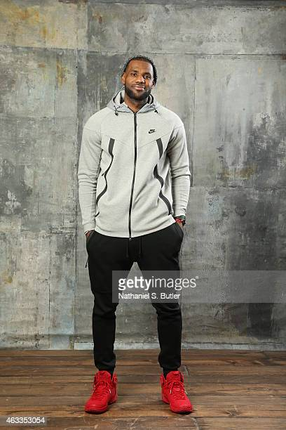 LeBron James of the Cleveland Cavaliers poses for portraits during the NBAE Circuit as part of 2015 AllStar Weekend at the Sheraton Times Square...