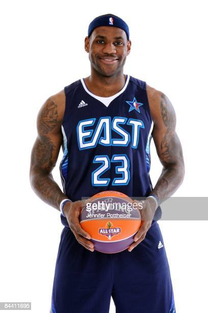 Lebron James of the Cleveland Cavaliers poses in his 2009 All Star Uniform at the Quicken Loans Arena on January 21 2009 in Cleveland Ohio NOTE TO...