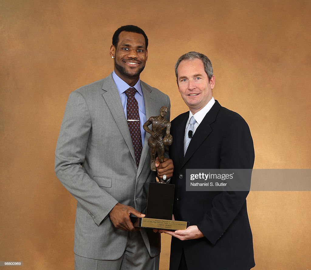 LeBron James Of The Cleveland Cavaliers Poses With Tom Loveless Vice President Sales For