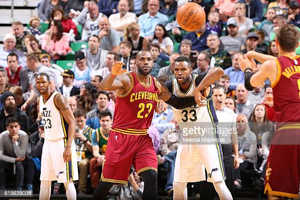 LeBron James of the Cleveland Cavaliers posts up against the Utah Jazz on March 14 2016 at vivintSmartHome Arena in Salt Lake City Utah NOTE TO USER...