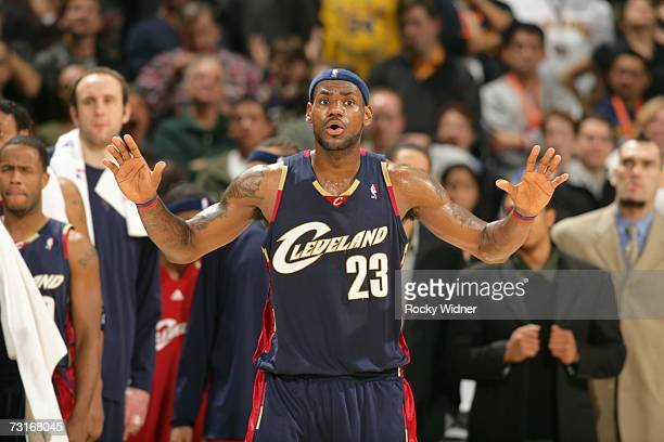 LeBron James of the Cleveland Cavaliers protests a call during the game against the Golden State Warriors on January 20, 2007 at Oracle Arena in...