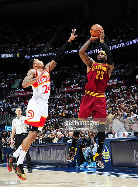 Lebron James of the Cleveland Cavaliers puts up a shot against the Atlanta Hawks on March 6 2015 at Philips Arena in Atlanta Georgia NOTE TO USER...