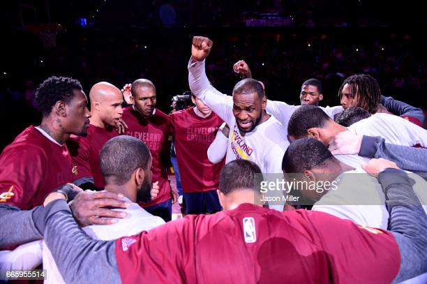 LeBron James of the Cleveland Cavaliers rallies his teammates prior to the game against the Atlanta Hawks at Quicken Loans Arena on April 7 2017 in...