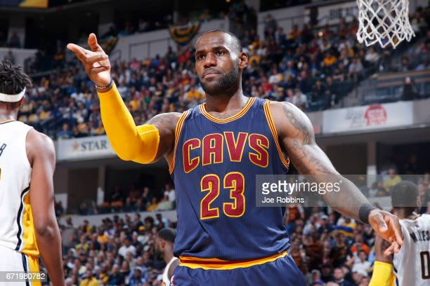 LeBron James of the Cleveland Cavaliers reacts after a basket and foul against the Indiana Pacers in the second half of Game Four of the Eastern...