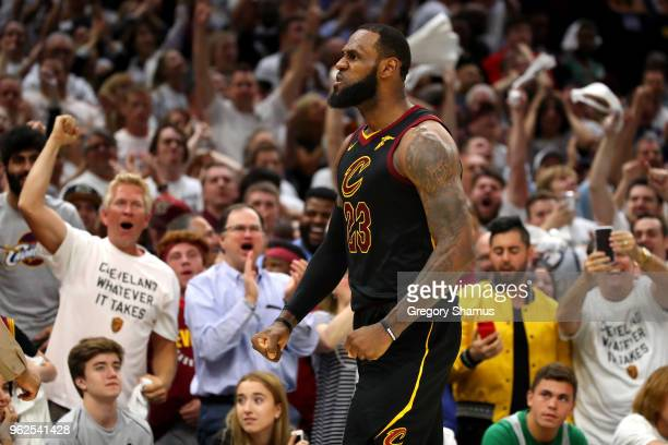 LeBron James of the Cleveland Cavaliers reacts after a basket in the fourth quarter against the Boston Celtics during Game Six of the 2018 NBA...