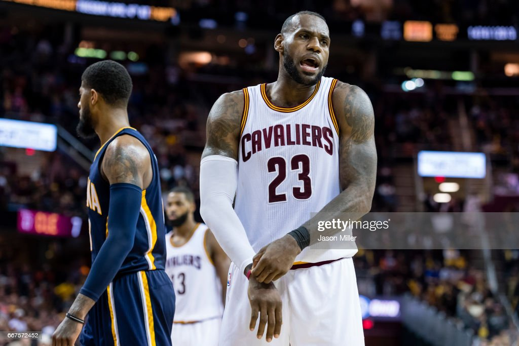 ff37e535182d LeBron James of the Cleveland Cavaliers reacts after a play during ...