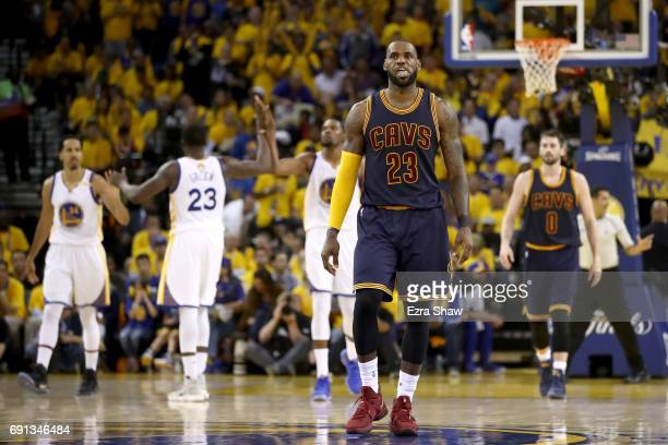 LeBron James of the Cleveland Cavaliers reacts after a play in Game 1 of the 2017 NBA Finals against the Golden State Warriors at ORACLE Arena on...