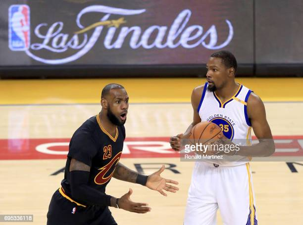 LeBron James of the Cleveland Cavaliers reacts after being called for a foul against the Golden State Warriors in Game 5 of the 2017 NBA Finals at...