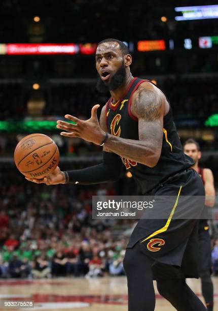 LeBron James of the Cleveland Cavaliers reacts after being called for a foul against the Chicago Bulls at the United Center on March 17 2018 in...