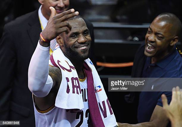 LeBron James of the Cleveland Cavaliers reacts after defeating the Golden State Warriors 115101 in Game 6 of the 2016 NBA Finals at Quicken Loans...