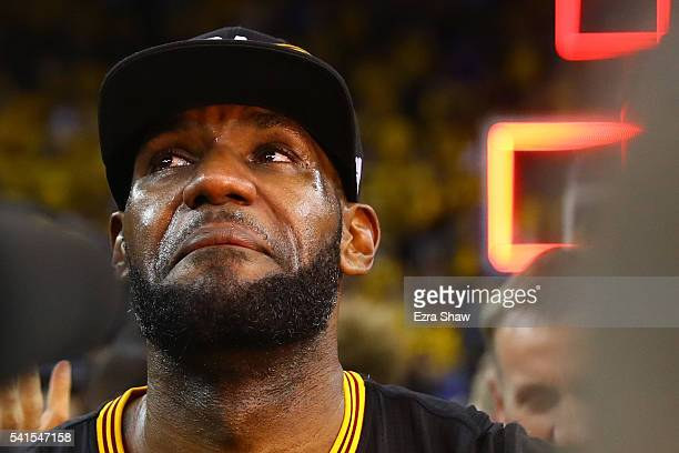 LeBron James of the Cleveland Cavaliers reacts after defeating the Golden State Warriors 9389 in Game 7 of the 2016 NBA Finals at ORACLE Arena on...