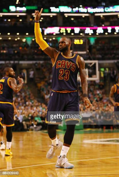 LeBron James of the Cleveland Cavaliers reacts after making a shot in the first half against the Boston Celtics during Game One of the 2017 NBA...